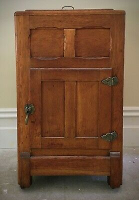 AU195 • Buy Antique Oak Timber Ice Chest With Brass Hinges & Handles