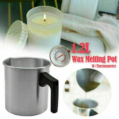 Wax Melting Pot Pouring Pitcher Jug Aluminium Candle Soap Make Thermometer UK • 7.20£