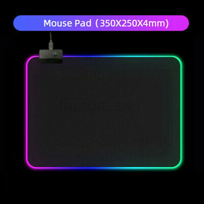 AU15.97 • Buy RGB Led Gaming Keyboard And Mouse Desk Mat Pad Anti-slip Rubber Speed Mousepad