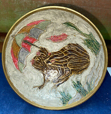 Indian Brass Hand Painted Enamelled Footed Bowl • 6.99£