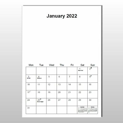 £4.75 • Buy A4 Blank Calendar 2022 - Planner (Wire Bound - 13 Pages - 12 Months Plus Cover)