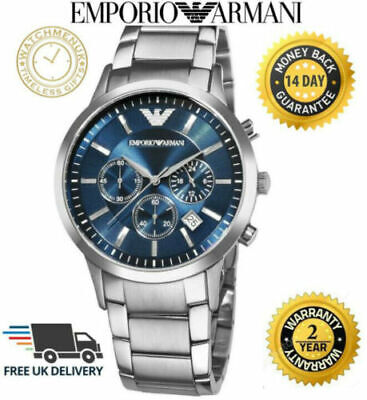 Emporio Armani AR2448 MENS WATCH BLUE DIAL STAINLESS STEEL WITH 3 YEARS WARRANTY • 49.95£