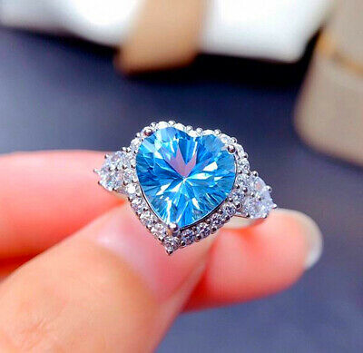 £3.95 • Buy Sky Blue Heart Adjustable Ring 925 Sterling Silver Womens Girls Jewellery Gifts