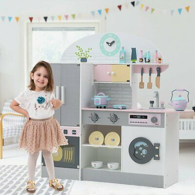 Large Kids Play Kitchen Wooden Pretend Play Toy Boys Girls Role Playset • 87.69£