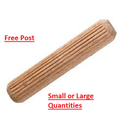Hardwood Wooden Dowels Chamfered Fluted Pin Wood Dowels Birch 8 X 40 Suits Ikea • 0.99£