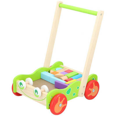 £20.19 • Buy Baby Wooden Walker And Bricks Activity Block Cart Learning Toddler Colourful Toy
