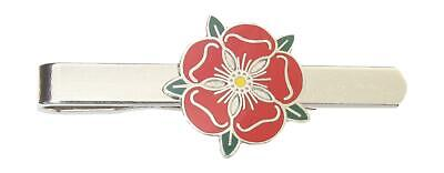 Lancashire Red Rose  Tie Clip Slide Bar Nickle Plated Gift TC 494 • 11.99£