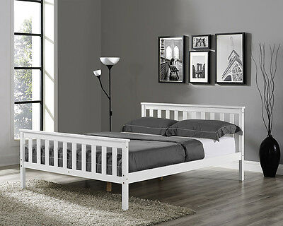 £124.99 • Buy Wooden Bed Frame Solid Pine White Double King Single Size Shaker Style