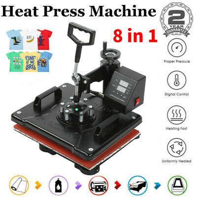 AU693.27 • Buy 8 In 1 Heat Press Machine Swing Away Digital Sublimation T-Shirt /Mug/Plate Hat