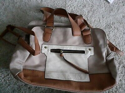 Handbag With Shoulder Strap Cream Brown Tan Sandy And Pockets Faux Leather Bag • 7.30£