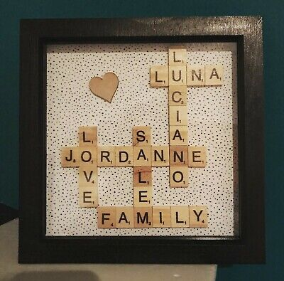 Personalised Family Children Love Birthday Name Scrabble Picture Box Frame • 12£