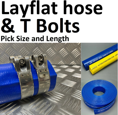 Blue PVC Layflat Hose Pipes Water Delivery Discharge Irrigation & 2 T Bolt Clips • 103.09£