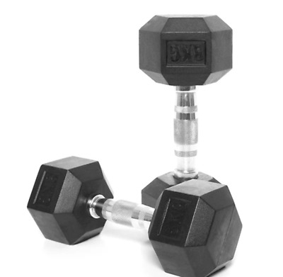 AU92 • Buy 8kg Rubber Hex Dumbbells (pair) + Free Shipping