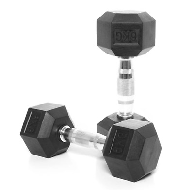 AU82 • Buy 6kg Rubber Hex Dumbbells (pair) + Free Shipping