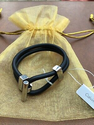£39.99 • Buy Gorgeous New Womens Calvin Klein Silver And Black Leather Bangle Bracelet