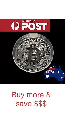 AU5.50 • Buy Silver Plated Bitcoin With Plastic Capsule Novelty Coin Aus Stock Collection