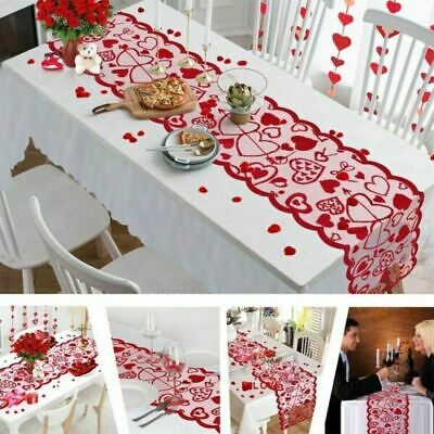 Red Love Heart Lace Table Runners Valentine's Day Table Decor Kitchen Table Mats • 6.52£