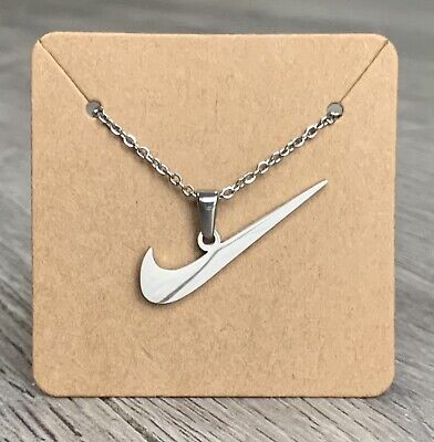 Silver Stainless Steel Delicate Chain Necklace & Nike Swoosh Check Tick Pendant • 14.99£