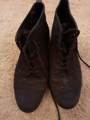 Size 6 39 Genuine Suede Leather Ankle Boots Flat Lace Up Shoes Smart Black  • 15£