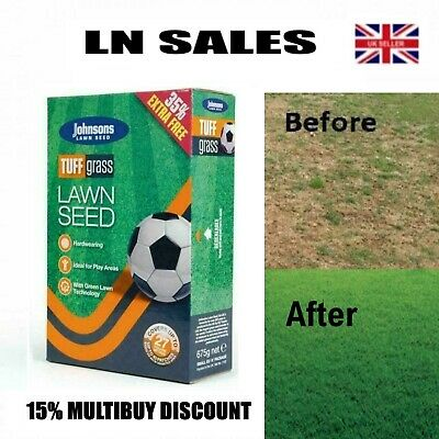 £9.25 • Buy Grass Lawn Seed- Johnsons Tuff Grass Dog Patch Resistance Hardwearing Quick Fix