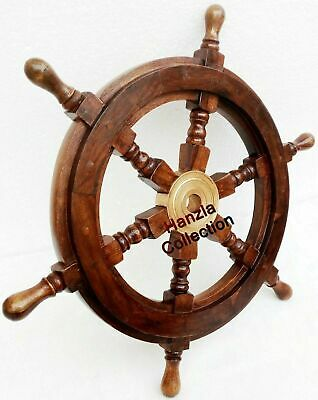 £55 • Buy 24 Inch Nautical Wooden Ship Wheel Pirate Wood Brass Finish Steering Wall Decor