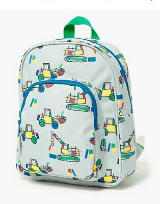 AU23.13 • Buy M&s Kids Transport Water Repellent Backpack Tractor Crane Digger Red Blue Yellow