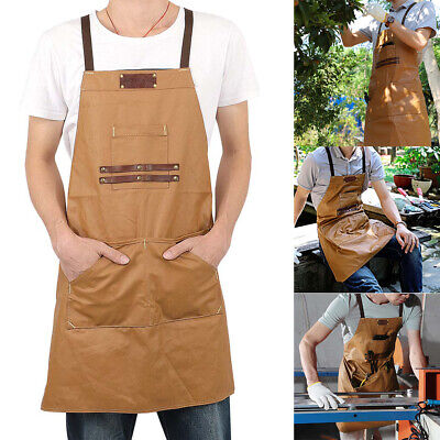Adjustable Men Lady Canvas Apron With Tool Pocket For Cafe Kitchen Cooking HOT • 24.99£