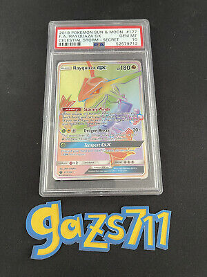 $ CDN1067.24 • Buy PSA 10 - 2018 Rayquaza GX 177/168 Celestial Storm Full Art Pokemon - GEM MINT