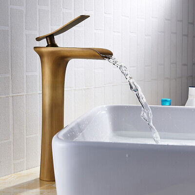 £33.89 • Buy Bathroom Basin Mixer Taps Tall Counter Top Waterfall Faucets Cloakroom Tap Brass