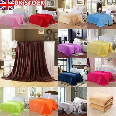 £7.82 • Buy Warm Large Flannel Fleece Bed Blanket Warm Throw Over Ultra Soft Bed Sofa Sizes
