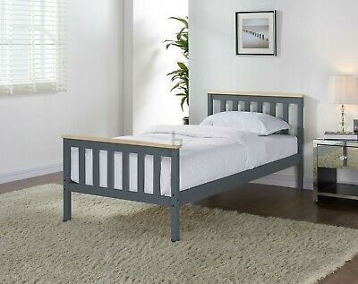 £76.99 • Buy Grey Wooden Bed Frame Pine Double King Single Size Solid Pine Oak Top Mattress