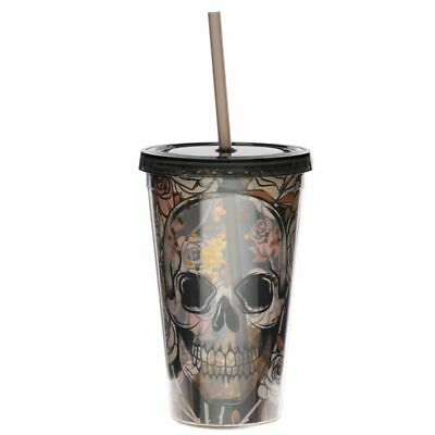 Skulls And Roses Plastic 500ml Double Walled Reusable Cup Straw With Lid Gothic • 8.95£