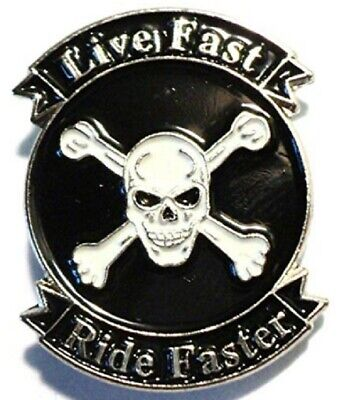 Bike Motorcycle-Live Fast Ride Faster Metal Enamel Pin Badge Skull & Cross Bones • 2.49£