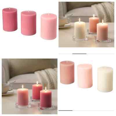 IKEA SCENTED BLOCK CANDLES 3pack Large Long Burn Aromatic Flowers Smell VARIOUS • 3.95£