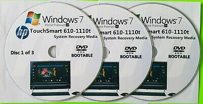 £15.23 • Buy HP TouchSmart 610-1110t Factory Recovery Media 3-Discs / Windows 7 Home 64-bit