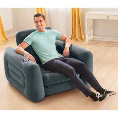 £65.99 • Buy Intex Pull-Out Chair 117cm Dark Grey Convertible Relaxing Lounge Sofa Bed