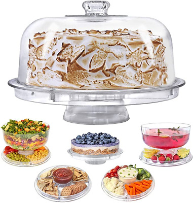 £13.99 • Buy Cake Stand With Dome Cover Lid Multi-Purpose Serving Platter Salad Bowl Dip Tray