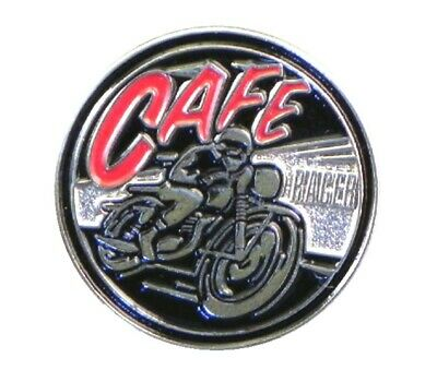 Café Racer Motorbike Metal Enamel Pin Badge Black And Red • 2.49£