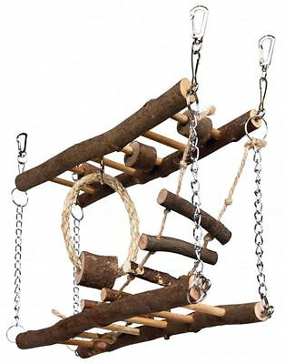 Trixie Suspension Bridge Natural Wood Ladder Mouse Mice Hamster Toy Climbing • 12.75£