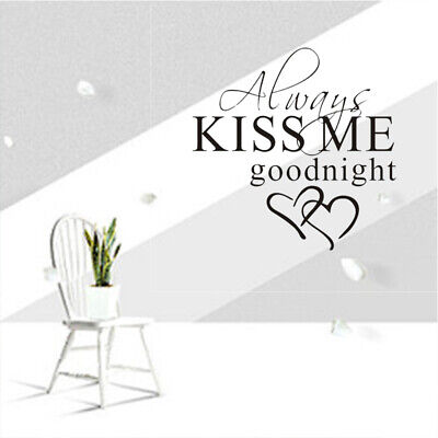 Wall Stickers DIY Removable GOODNIGHT LOVE Quote Bedroom Decals Kiss Me Decor • 3.19£