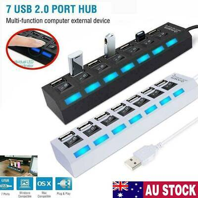 AU11.04 • Buy 7 Port USB 3.0 HUB Powered +High Speed Splitter Extender PC AC Adapter Cable AU