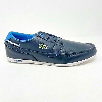 Lacoste Dreyfus Slip On SPM Leather Synthetic Black Blue Mens Loafer Boat Shoes • 56.71£