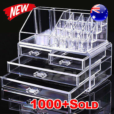 AU18.85 • Buy Premium Holder Cosmetic Organizer Makeup 4 Drawer Acrylic Storage Jewellery Box
