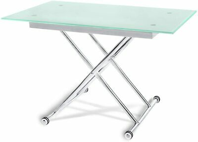 Height Adjustable Glass Dining Or Coffee Table. Chrome Legs. • 40£
