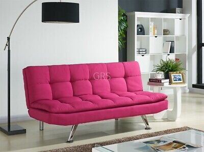 Padded Sofa Bed Fabric 3 Seater Padded Sofabed Suite Chrome Legs Cube Design New • 154.99£