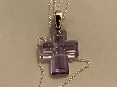 Lalique  Amethyst Crystal And Hallmarked Silver Cross Pendant - New • 95£