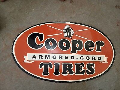 $ CDN376.59 • Buy Porcelain COOPER TIRES Sign SIZE 18  X 30  INCHES DOUBLE SIDED Pre-Owned