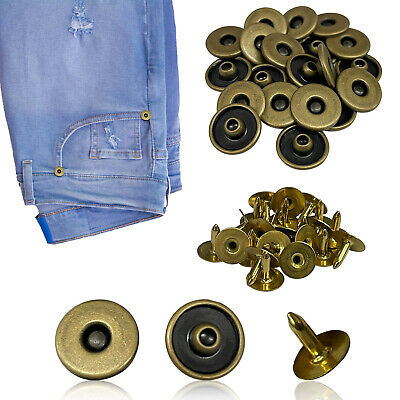 Brass Jeans Rivets Ideal For Jeans Denim Clothes Leather Non-sew Choose Quantity • 3.49£