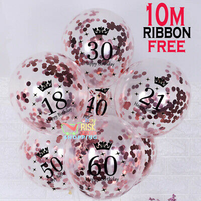 £2.99 • Buy Rose Gold Happy Birthday AGE Bunting Balloon 18/21st/30/40/50/60th Party Baloons