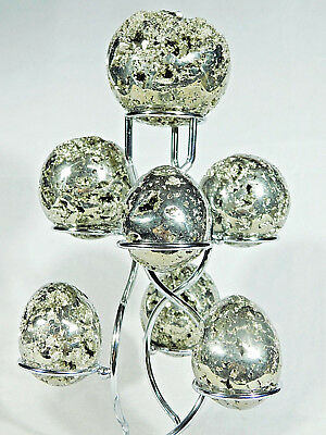 A Neat! SEVEN Sphere, Egg, Golf Ball Or Whatever? CHROME Display Stand! • 11.46£